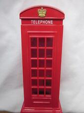 "Red British Telephone Booth Saving BANK Money Box plastic Piggy Bank 6"" Tall"