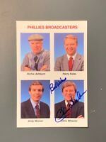Tastykake Phillies Broadcasters Chris Wheeler Autographed Photocard