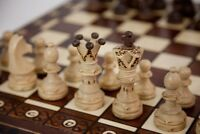 Vintage Wooden Chess Game Hand Carved Board Pieces Large 21 Inch Set New