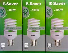 3x E-Saver, Energy Saving CFL Light Bulbs, Spiral, 20w, Cool White, B22 Bayonet