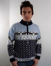 VINTAGE UOMO Spessi Norvegesi Snowflake Knitwear Sweater Maglione S