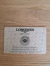 Longines warranty card blank