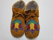 NATIVE AMERICAN MOCCASINS/SLIPPERS - BEAUTIFUL TULIP/BEADED TO THE HEEL - 10 IN