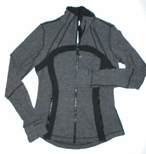 LULULEMON Full Zip DEFINE Yoga Jacket BLACK Heathered Coal Soft Mini Check Sz 8