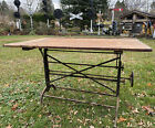 Antique Industrial Cranking Cast Iron Drafting Table Desk Study Office Steampunk