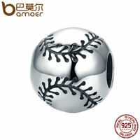BAMOER Solid 925 Sterling silver Charm Baseball sentiment For bracelet Jewelry
