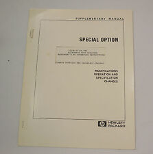 HP  Hewlett Packard 3702B/3710A H89 Microwave Link Analyser Supplementary Manual