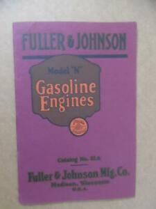 1920 Fuller & Johnson Model N Gasoline Engine Catalog Madison Wisconsin Antique