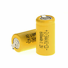 2PCS Ni-Cd Battery 1.2V 2/3AA 600mAh Rechargeable battery NiCd Batteries Yellow
