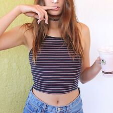 brandy melville stretchy  blue/red/white striped crop mary tank top NWT sz S