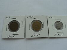 Spain coins lot of 3. 1 Peseta 1963,1975,1989