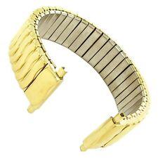 16-22mm Speidel Twist-O-Flex Stainless Shiny Gold Tone Wave Watch Band 1512/37