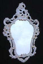 Wandspiegel Oval Weiß-Gold  Barock Repro Spiegel 50X76 Badspiegel 3039WG