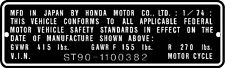 HONDA ST90  HEADTUBE TAG  / REPRO DECAL