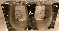 I LOVE YOU Stemless Wine Glass Set 2 NEW Susquehanna Glass Gift Under $20