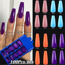 100pcs/Set False Nail Tips Matte Full Cover Long Coffin Fake Nails Art Manicure