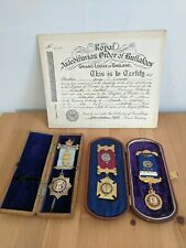 Raob medals in boxes with certificate 1940's. All from the same brother Masonic?
