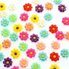 15X Resin Flower Layered Daisy Flowers Flatback Cabochon Mix Colors 9-15mm