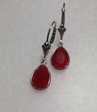 925 Sterling Silver Flat Pear Cut Natural Carnelian Lever Back Earrings 3.30TCW
