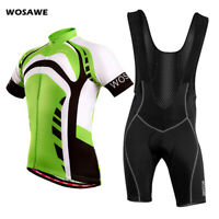 Mens Cycling Bibs Sets MTB Bike Riding Short Sleeve Jersey Bib Shorts Gel Padded