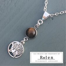 Golden Tigers Eye, Pentagram & Tree Of Life  Pendant Wicca Pagan Earth Energy