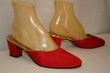 NOS 8 Vtg 60s 70s Oomphies Slippers Red Slub Fabric USA Heels Shoes Mules
