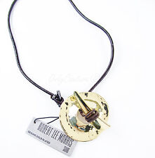 """Robert Lee Morris SOHO Gold Plated Sculptural Circle Leather Horn 20"""" Necklace"""