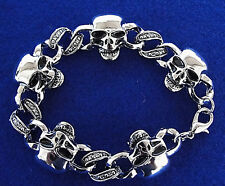 Skulls GRINNING Chrome Metal Colored Bracelet Halloween Acccessory