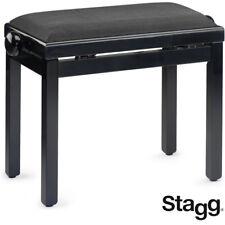 New Stagg Pb39-Bkp-Vbk Highgloss Oak Piano Bench with Black Ribbed Velvet Top