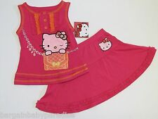 NWT Hello Kitty 2 Pc Set Glittery, Ruffled Top & Skirt Toddler Girls 2T