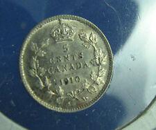 Canada 1910  5 cents very nice coin AU