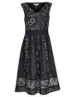 New M&S PER UNA Black & White Pure Cotton Broderie Cutwork Dress Sz UK 8 10