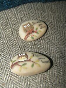 2 x resin owl pebbles inspiration follow your heart