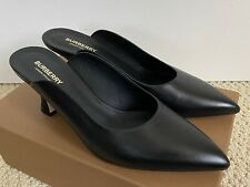 New Burberry Holme Black Leather Pointed Toe Slip On Mule Pumps Sz 40 10 $680