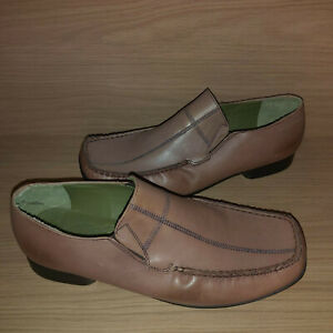Hush Puppies SECONDS Tundra Leather Slip On Shoes Mens UK 12 Tan Stitched Detail