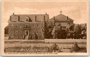 "ST. PAUL, Kansas Postcard ""ST. ANNS ACADEMY, Sisters of Loretto"" 1934 Cancel"