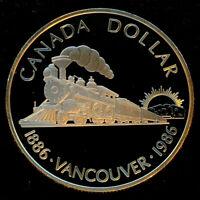 "1986 Canadian $1.00 Silver Specimen Proof Dollar -""Vancouver Centennial"""