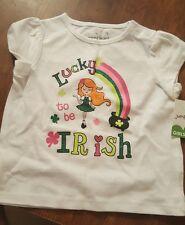 Jumping beans 12 months white T shirt Lucky to be Irish Nwt glitter St. Patricks