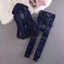 Juicy Couture Velour Tracksuit Set Hoodie & Jogger Pants  Royal Blue L