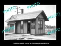 OLD LARGE HISTORIC PHOTO OF LA SALETTE ONTARIO, THE RAILROAD DEPOT STATION c1930