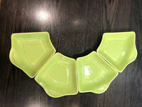 MCM Whittfred Ceramic California Pottery 4 Lime Green Relish / Condiment Bowls
