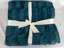 """Luxurious Teal Faux Mink Blanket Reversible Faux Fur (76""""x 60"""") Super Soft"""