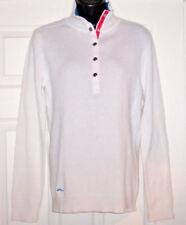 LAUREN ACTIVE Ralph Lauren Womens White Cotton Sweater Snap Closure Sz L - Mint!