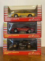 Vintage Lot 3 Diecast 1:24 Majorette Corvette Coupe And Roadster Pace Car  Mint