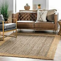 nuLOOM Contemporary Modern Simple Solid Bordered Natura Jute Area Rug in Grey