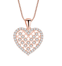 Rose Gold Silver heart necklace pendant charm with CZ Cubic Zirconia S3