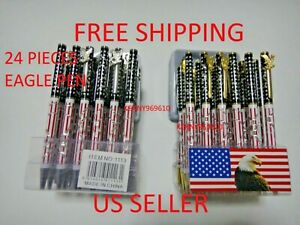 24X-BLACK Ballpoint Ink Pen USA Stars and Stripes American Flag with Eagle Clip