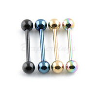 "4pc 14 Gauge 16mm(5/8"") 5mm Ball Titanium Anodized Tongue Barbell Tongue Ring"