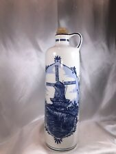 "Bols Blue Delft's Empty Brandy Decanter With Cork Stopper 11""  From Holland"