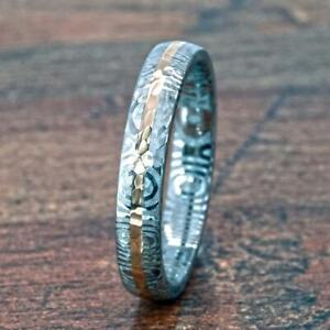 New 4mm Wide Damascus Steel Ring with a Solid 14k Gold Inlay